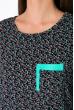 Сорочка женская 107P131-2 темно-синий / мятный принт