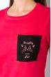 Хлопковая футболка с принтом на кармане 317F077  малиновый