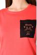 Хлопковая футболка с принтом на кармане 317F077  коралловый