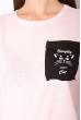Хлопковая футболка с принтом на кармане 317F077  розовый