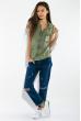 Жилетка женская, стильная с капюшоном 32P054 оливковый