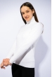 Гольф женский комбинированной вязки 120PZEL011 молочный