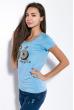 Футболка женская со стразами  81P3540 голубой