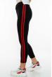 Лосины женские спортивные с лампасами 611F001 черно-красный
