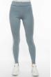 Лосины женские спортивные с лампасами 611F001 бледно-голубой / белый