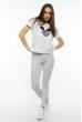Лосины женские спортивные с лампасами 611F001 светло-серый меланж / белый