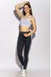 Лосины женские спортивные с лампасами 611F001 сизо-серый / белый