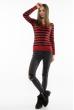 Пуловер женский с V-образным вырезом 618F095 красно-черный
