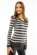 Пуловер женский с V-образным вырезом 618F095 хаки-стальной
