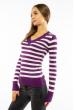 Пуловер женский с V-образным вырезом 618F095 фиолетово-молочный