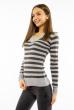 Пуловер женский с V-образным вырезом 618F095 стальной-хаки