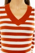 Пуловер женский с V-образным вырезом 618F095 кирпично-молочный