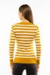 Пуловер женский с V-образным вырезом 618F095 горчично-молочный