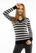 Пуловер женский с V-образным вырезом 618F095 черно-стальной