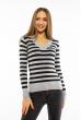 Пуловер женский с V-образным вырезом 618F095 стальной-черный