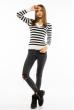 Пуловер женский с V-образным вырезом 618F095 молочно-черный