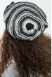 Шапка женская бини с крупным цветком 65PF13-042 черно-серый