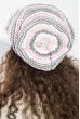 Шапка женская бини с крупным цветком 65PF13-042 серо-розовый
