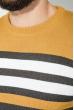 Свитер мужской в полоску 48P3299 горчично-серый