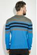 Свитер мужской в полоску 48P3299 серо-голубой