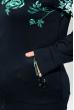 Костюм спортивный с цветочным принтом 120PMO6017-4 темно-синий / бирюзовый