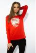 Лонгслив женский с принтом 85F10154-1 LOVE красный
