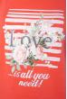 Лонгслив женский с принтом 85F10154-1 LOVE коралловый