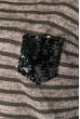 Джемпер женский с пайетками на кармане 81PD2009 капучино , полоса