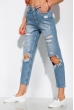 Рваные джинсы модель Mom fit 162P023 синий