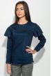 Блузка женская с оборкой на плечах, рукав длинный 64PD275 темно-синий