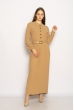 Платье с плиссированной юбкой 640F002-1 бежевый