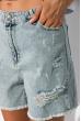 Рваные джинсовые шорты с высокой посадкой 162P014 светло-синий
