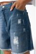 Рваные джинсовые шорты с высокой посадкой 162P014 синий
