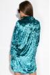 Платье женское с воротником из велюра 121P023 бирюзовый
