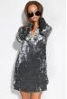 Платье женское с воротником из велюра 121P023 темно-серый