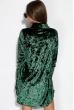 Платье женское с воротником из велюра 121P023 зеленый