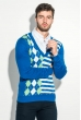 Пуловер мужской с комбинированным орнаментом 50PD311 бирюзовый