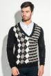 Пуловер мужской с комбинированным орнаментом 50PD311 черно-серый
