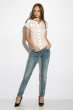 Классическая рубашка 118P001 с коротким рукавом кремовый