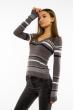 Пуловер женский с V-образным вырезом 618F151 грифельный