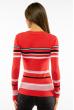 Пуловер женский с V-образным вырезом 618F151 кораллово-черный