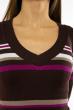 Пуловер женский с V-образным вырезом 618F151 шоколадный
