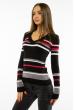 Пуловер женский с V-образным вырезом 618F151 черно-малиновый
