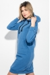 Платье-батник женской с капюшоном, на флисе 69PD1044 синий джинс