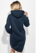 Платье-батник женской с капюшоном, на флисе 69PD1044 темно-синий