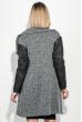 Пальто женское со стеганными рукавами, на молнии 69PD976 черно-серый