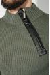 Свитер мужской с косой змейкой 48P3292 оливково-бежевый