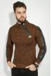 Свитер мужской с косой змейкой 48P3292 коричнево-терракотовый