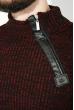 Свитер мужской с косой змейкой 48P3292 черно-бордовый