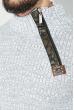 Свитер мужской с косой змейкой 48P3292 бело-серый